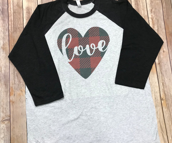 Buffalo Heart Raglan T-shirt - Sew Cute By Katie