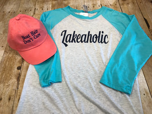 Lakeaholic  Aqua Raglan t-shirt - Sew Cute By Katie