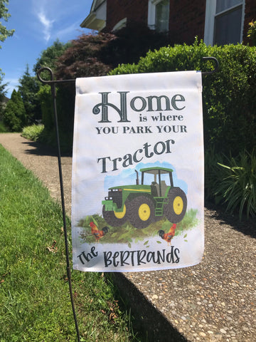 Home is Where You Park Your Tractor Personalized Garden Flag - Sew Cute By Katie