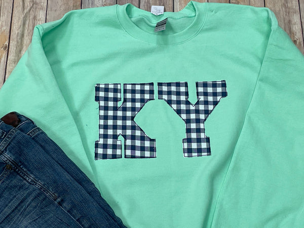 KY Applique Sweatshirt - Mint with Navy Gingham
