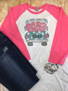 Valentine Truck Raglan T-shirt with pink sleeves