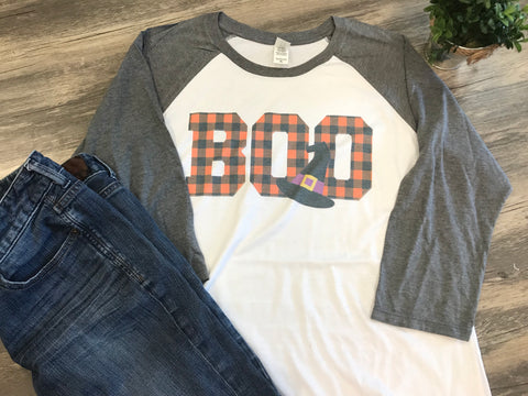 BOO Halloween plaid letters Raglan tee - Sew Cute By Katie