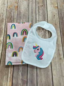 Unicorn Bib and Burp Cloth Gift gift set -pink