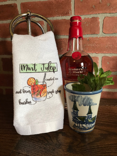 Mint Julep Glass Kentucky Derby Bar Towel - Sew Cute By Katie
