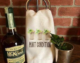 Mint Julep Mint Condition Kentucky Derby Bar Towel - Sew Cute By Katie