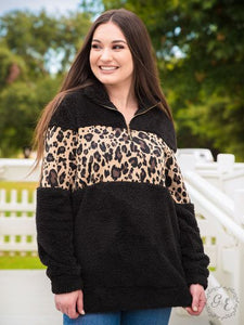 Black Quarter Zip with Leopard Print Band