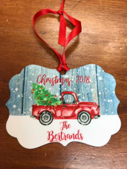 Christmas Red Truck Ornament Keepsake, Personalized Ornament - Sew Cute By Katie
