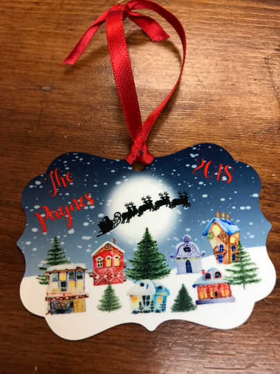 Christmas Village & Santa's Sleigh Christmas Ornament Keepsake, Personalized Ornament - Sew Cute By Katie