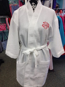 Waffle Weave Robe - White - Sew Cute By Katie