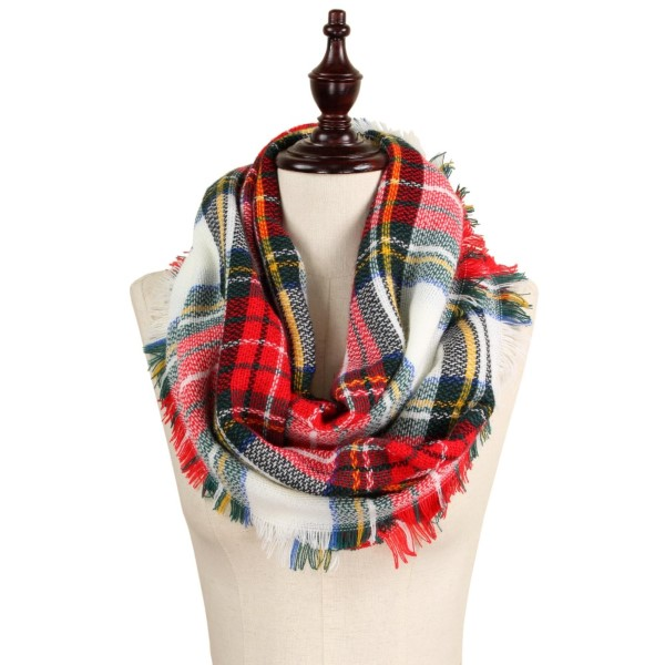 Plaid Infinity Scarf - white/red