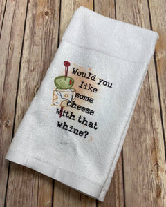 Whine and Cheese Hand Towel, Bar Towel