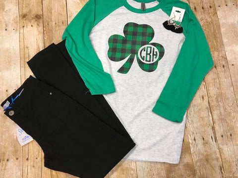 Monogram Shamrock Shirt - Buffalo Plaid - Sew Cute By Katie