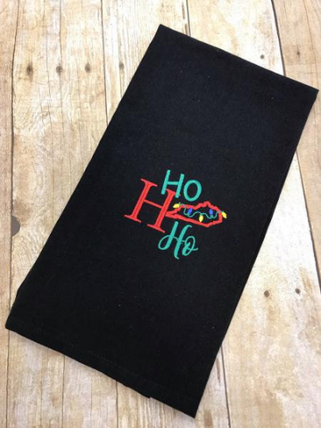 Ho Ho Ho Kentucky Tea Towel, Embroidered Christmas Holiday Hand Towel