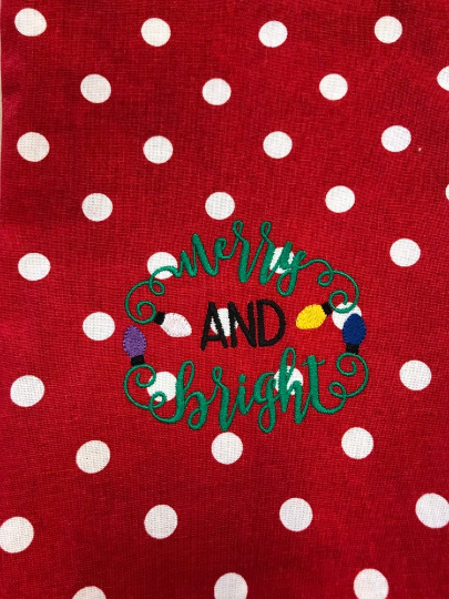 Merry and Bright Tea Towel, Embroidered Christmas Holiday Hand Towel - Sew Cute By Katie