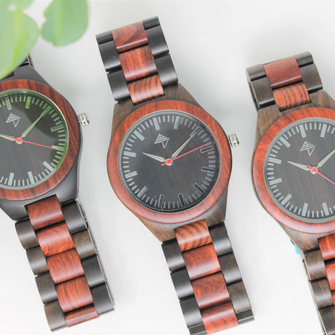 Corcovado Fall - Black & red sandalwood watch