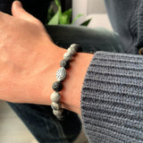 Men's bracelet - Grey Jasper & Lava rocks