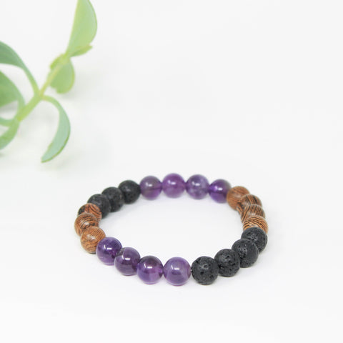 Amy bracelet - Amethyst, lava and wenge wood