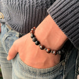 Men's bracelet - Bull's eye, matte Onyx & Lava rocks