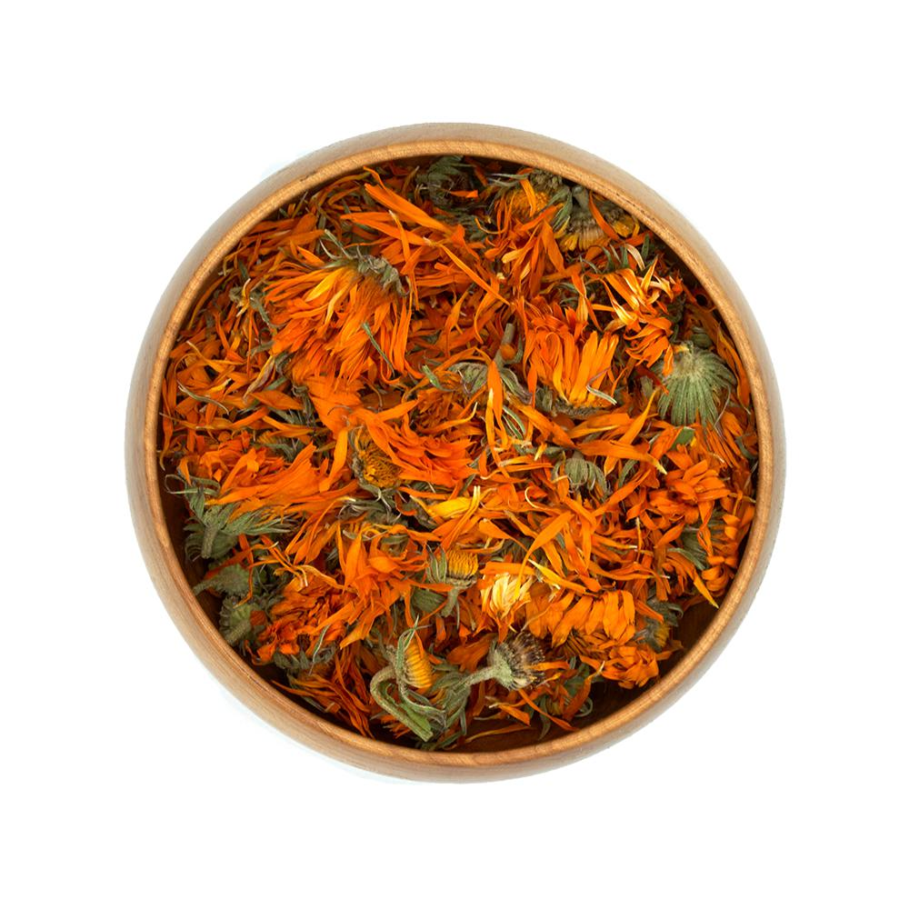 Dried Calendula Flower Blossoms in Bowl