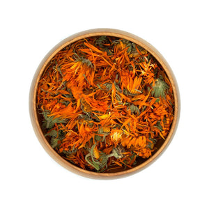 Organic Dried Calendula Blossoms in Bowl