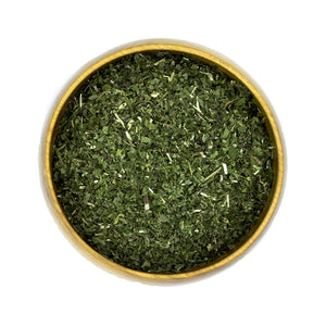 Organic Dried Peppermint Herbs in Bowl