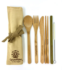Bamboo CUTLERY SET 5pcs + cotton cleaning brush