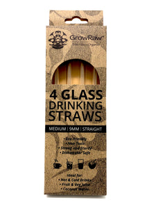 A grey coloured recycled paper box with text print in black and GROWRAW logo and product description and please recycle me note. This box contains 4 clear glass drinking straws 9 millimetre wide and straight.