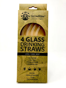 A green coloured recycled paper box with text print in black and GROWRAW logo and product description and please recycle me note. This box contains 4 clear glass drinking straws 12 millimetre wide and bent.