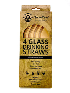 A green coloured recycled paper box with text print in black and GROWRAW logo and product description and please recycle me note. This box contains 4 clear glass drinking straws 9 millimetre wide and bent.