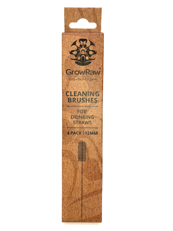 A brown recycled paper box with text print in black and GROWRAW logo and product description and please recycle me note. This box contains 4 cleaning brushes for 12 millimetre wide drinking straws.