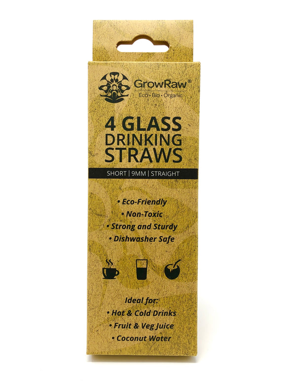 A grey coloured recycled paper box with text print in black and GROWRAW logo and product description and please recycle me note. This box contains 4 clear glass drinking straws 9 millimetre wide and straight. These are 15 centimetre which is 6 inches short straws