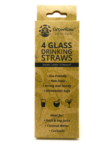 A grey coloured recycled paper box with text print in black and GROWRAW logo and product description and please recycle me note. This box contains 4 clear glass drinking straws 6 millimetre wide and straight. These are 15 centimetre which is 6 inches short straws