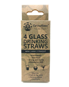 A blue coloured recycled paper box with text print in black and GROWRAW logo and product description and please recycle me note. This box contains 4 clear glass drinking straws 6 millimetre wide and straight. These are 10 centimetre which is 4 inch long slim cocktail straws.