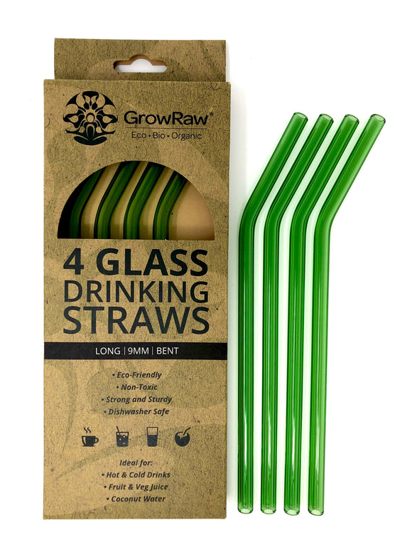 GREEN 4 GLASS STRAWS - LONG|9MM|BENT