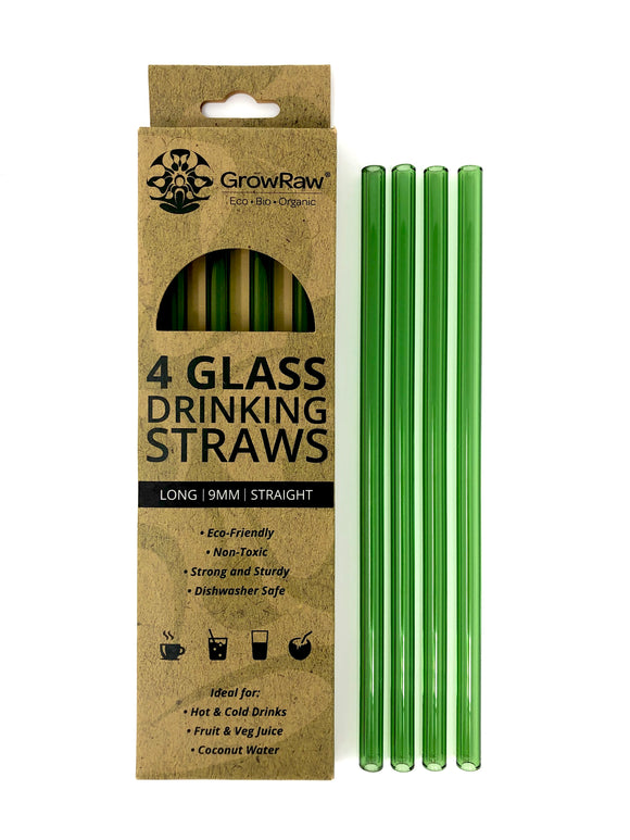GREEN 4 GLASS STRAWS - LONG|9MM|STRAIGHT