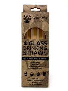4 GLASS STRAWS - MEDIUM|12MM|STRAIGHT