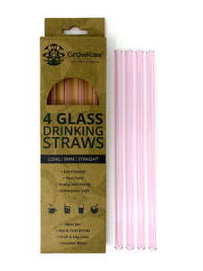 PINK 4 GLASS STRAWS - LONG|9MM|STRAIGHT