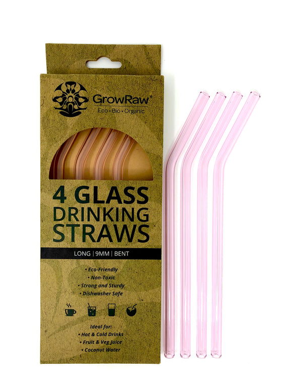 PINK 4 GLASS STRAWS - LONG|9MM|BENT