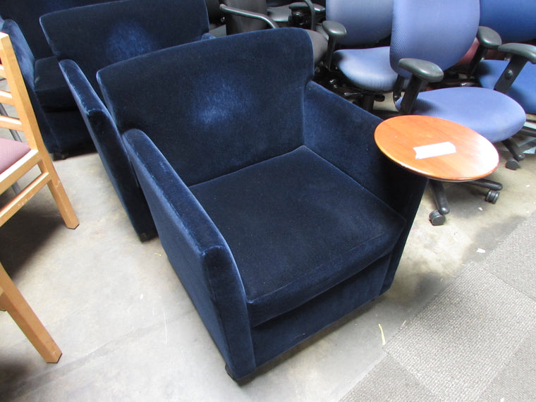 Trio Of Blue Felt Lobby Chairs With Trays (with Wheels)