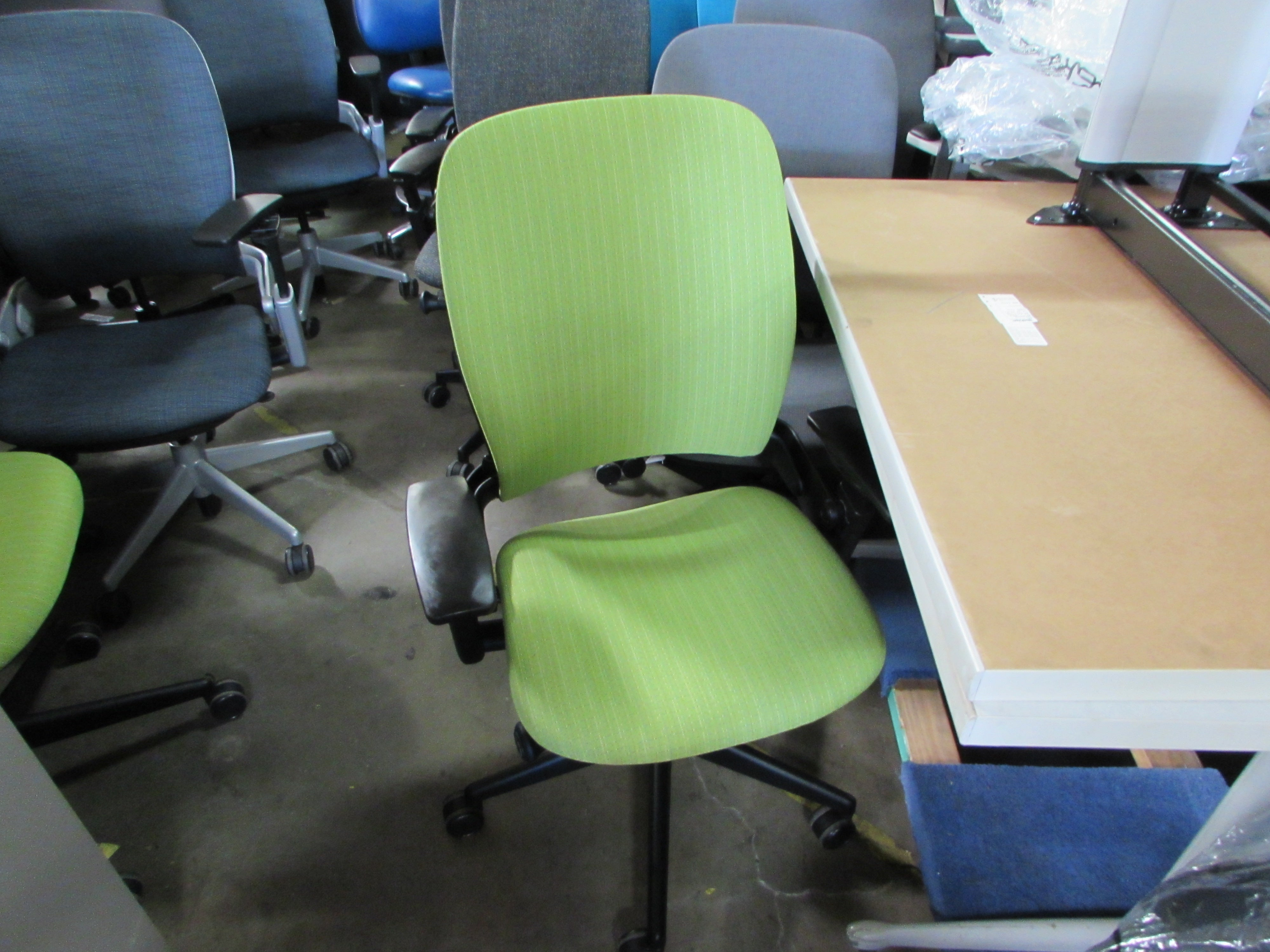 Steelcase Leap V50 Chairs Reupholstered in Lime Green