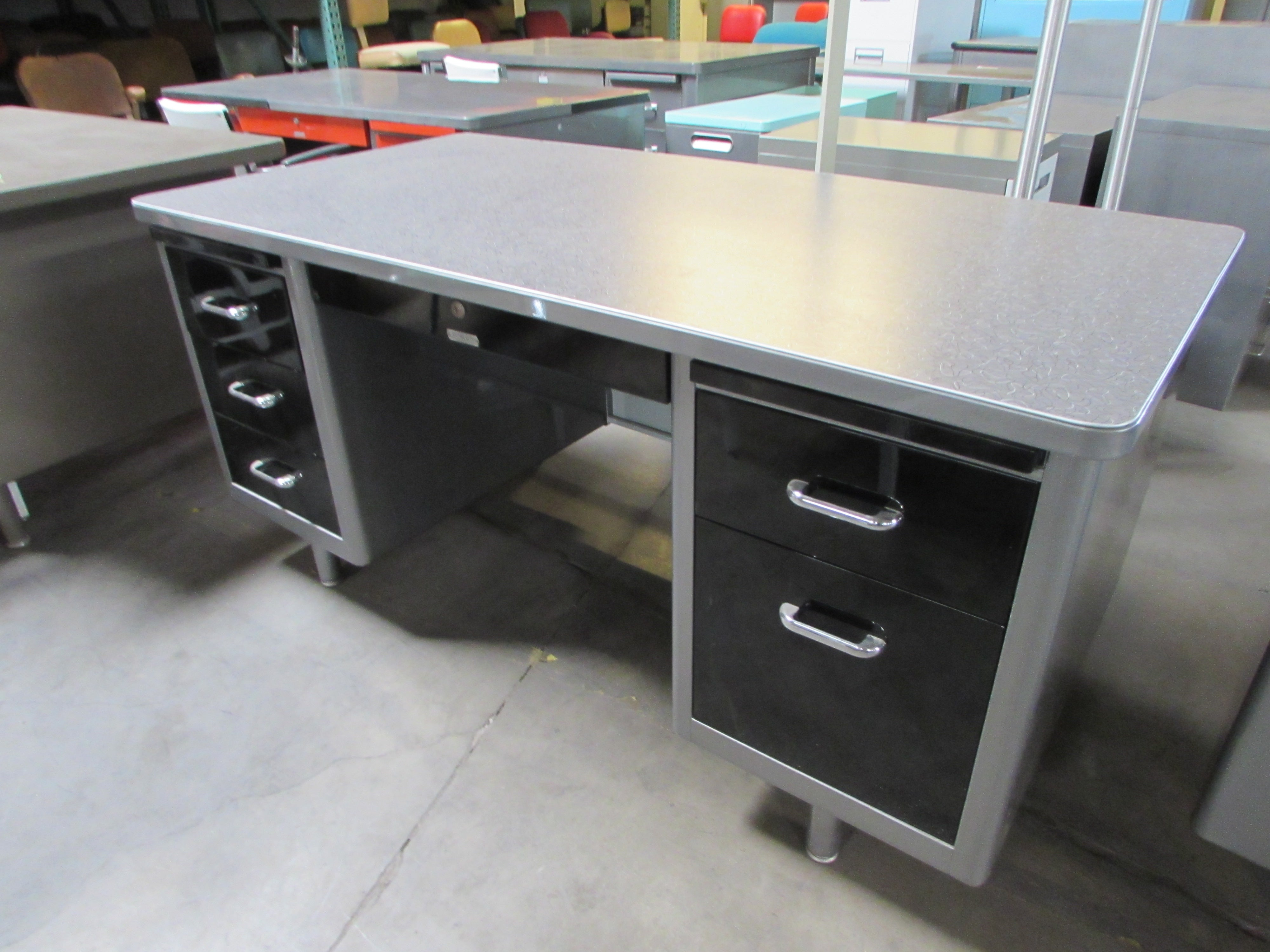 Lovely Brushed Steel Tanker Desk With Formica Top Great Pictures