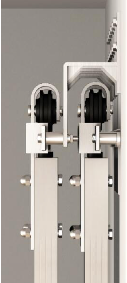 Stainless Steel Sliding Double Rails Double Doors Bypass Hardware Kit