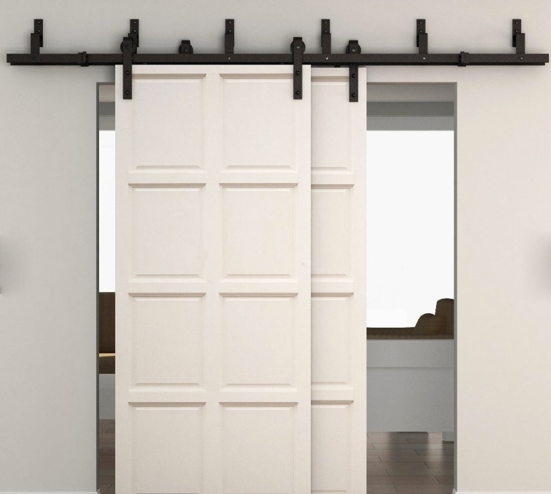 Double Rail Bypass System| Black Sliding Barn Door Bypass System