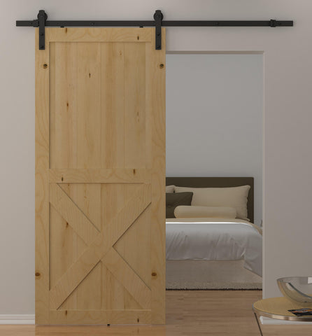Double Wheels Barn Door Hardware | Black Sliding Barn Door Hardware BB07