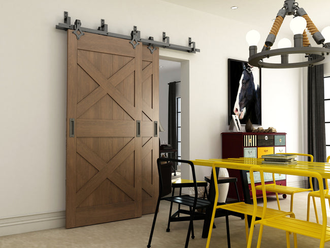 Black Sliding Barn Door Bypass System