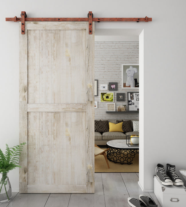 Rusted Finished Sliding Barn Door Hardware BB02R