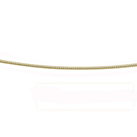 1.25MM Yellow Gold Plated .925 Sterling Silver Round Omega Necklace Chain 16-18