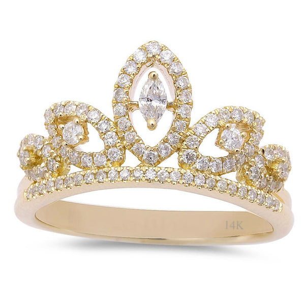 .38ct 14kt Yellow Gold Diamond Princess Crown Ring Size 6.5