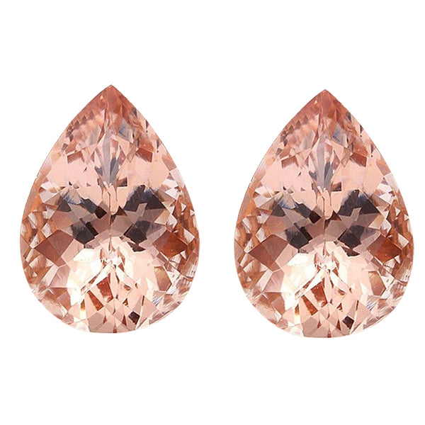 7.90ct 14x10 Natural Pear shap Morganites Loose Gemstones Pair. Great 4 Earrings