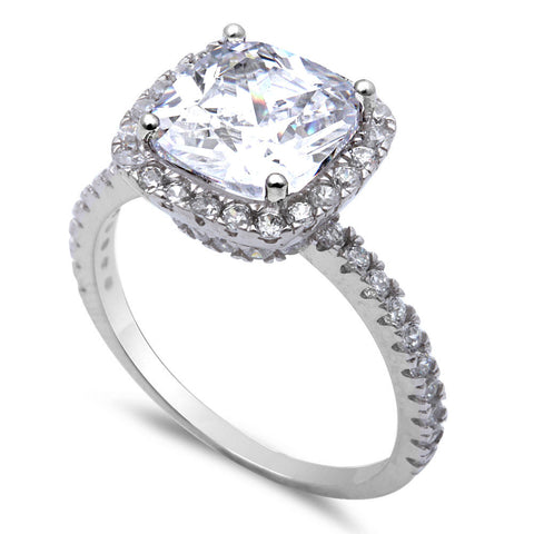 3CT Cushion Cut Fine Cz .925 Sterling Silver Ring Sizes 4-11